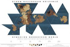Dymaxion Woodocean World, de Nicole Santucci de Woodcut Maps.