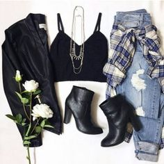 Grunge outfit idea nº19: Black leather jacket, plaid shirt, black heel boots, torn light blue jeans, and no-sleeve T