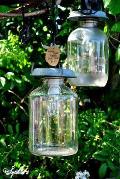 Antique chicken feeder/waterer pendant lights hanging in tree.
