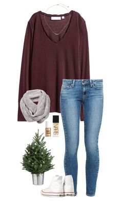 """""""jingle bell rock"""" by gabyleoni on Polyvore featuring Paige Denim, NARS Cosmetics, Converse, Benefit and Gorjana"""