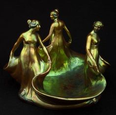 """Art Nouveau """"Three-Graces"""" by Zsolnay ca.1900"""
