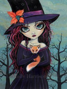 The Smirking Fox  Witch and Red Fox Fine Art by MollyHarrisonArt, $18.00