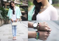 Mint Moment (by Raiza Poquiz) http://lookbook.nu/look/3927792-Mint-Moment [Note to self: Is piling on accessories my thing?]