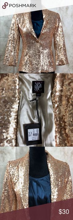 New York & Company Gold Sequin Blazer Beautiful. Brand New With Tags! Perfect for your holiday gathering! NY&Co Gold sequin Blazer. Women's size 2, 3/4 length sleeves. Snap front button closure. No sequins missing this beautiful Blazer has never been worn. New York & Company Jackets & Coats Blazers