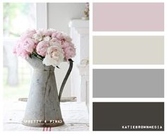 Inspiration for a colour scheme in soft greys with a hint of blush pink for contrast