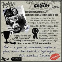 Women in #Golf - #Female golf pro Babe Didrikson Zaharias was named Top Female Athlete of the Century!
