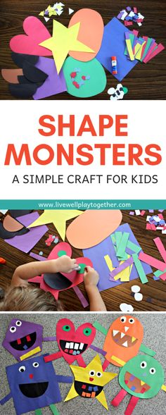 Shape Monster Craft for Kids Shape Monsters are an easy way to teach shapes and colors to kids and make a great Halloween craft. This shape monster craft is easy to put together and lots of fun to create! Perfect for preschoolers and kindergarteners. Easy Crafts For Kids, Toddler Crafts, Fun Crafts, Art For Kids, Craft Kids, Preschool Shape Crafts, October Preschool Crafts, Crafts For Children, Pre School Crafts