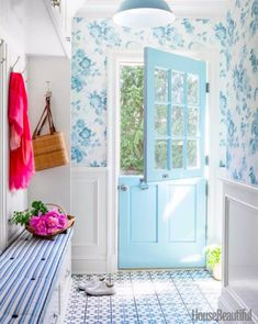 Cement Tile Shop Atlas Tiles in a mudroom features a blue dutch door surrounded by wainscoting and floral wallpaper in blue and white Cement Tile Sho… – Mudroom Blue Rooms, White Rooms, Beautiful Front Doors, Spring Color Palette, Dining Room Blue, Dining Area, Front Door Colors, Blue Wallpapers, Mudroom