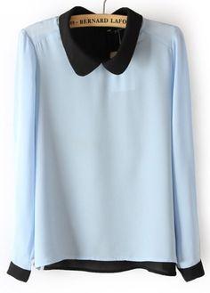 Blue Long Sleeve Back Buttons Chiffon Blouse #SheInside
