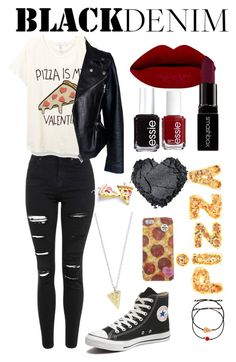 """black pizza"" by joellesmolenaers on Polyvore featuring mode, Topshop, Alexander McQueen, Converse, Rock 'N Rose, Hannah Makes Things, Forever 21, Smashbox, Essie en Venessa Arizaga"