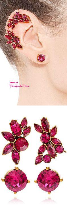 Oscar de la Renta Fall 2015 Navette Crystal Ear Cuff In Pink ♔THD♔