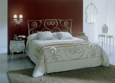 http://www.ireado.com/stylish-wrought-iron-bedroom-furniture/ Stylish Wrought Iron Bedroom Furniture : White Bontempi Macrame Wrought Iron Bed Against Brown Wall Wrought Iron Bedroom Furniture