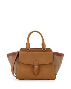 Burberry Brit Medium Grainy Canvas Check Satchel Bag, Saddle Brown  #NMshoelove #NMhandbags
