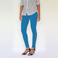 """ Blue Rivet Secured"" Cotton & Lycra Leggings- Ankle Length. #Leggings #EstroloFashion #BlueLeggings #stylishleggings"