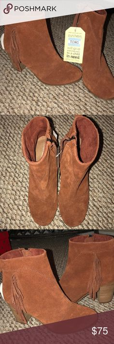 Toms boots cognac suede with fringe size 8 New with tags , no box . Toma boots cognac suede with fringe size 8. Toms Shoes Ankle Boots & Booties