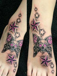 Butterflyskull Stars pink TaT - 25 Awesome Star Tattoo Designs