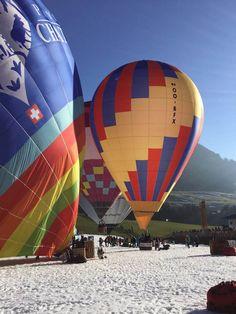 Flying High in Chaplin's World Balloon at Chateau d'Oex Hot Air Balloon, Switzerland, Balloons, Snow, World, Colour, Color, Globes, Hot Air Balloons