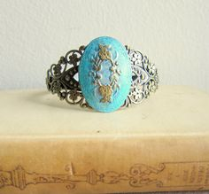 Marie Antoinette Blue Turquoise Gold Bracelet Lord of the Rings Bohemian LOTR Jewelry Antique Style Gothic Vintage Style Goth Pewter Steampunk Victorian