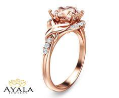 14K Rose Gold Morganite Ring Engagement by AyalaDiamonds on Etsy