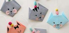 Basteln-Kindern-Origami-Katze-Papier-ausschneiden-Wanddeko