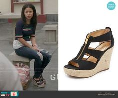 Mariana's zip up wedge sandals on The Fosters.  Outfit Details: https://wornontv.net/58166/ #TheFosters Buy them here: http://wornon.tv/36508