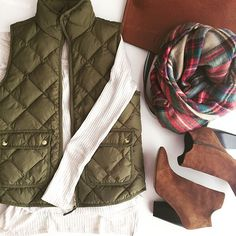 "Grace Wainwright on Instagram: ""These cognac booties are so comfortable! Also, can't get enough of blanket scarves and this one is back in stock! // Shop outfit details via @liketoknow.it  www.liketk.it/1MrGY #liketkit #fallstyle #fallfashion #quiltedvest #blanketscarf #plaid #booties"""