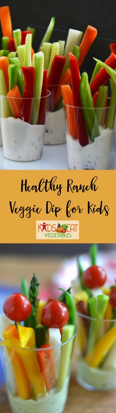 "How do you get kids to eat veggies? Give them ranch to dip. This Healthy Ranch Veggie Dip for Kids is perfect to pair with colorful vegetables. And the fun part about ""dipping"" is that kids love to use ""dippers"" like veggie sticks. This ranch veggie dip i"