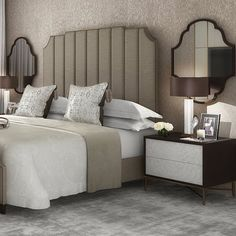 The master bedroom in our apartment project in Marylebone. Love these bedside tables with mother of pearl drawers fronts