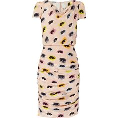 Moschino Cheap and Chic Eye-print draped silk dress ($695) ❤ liked on Polyvore