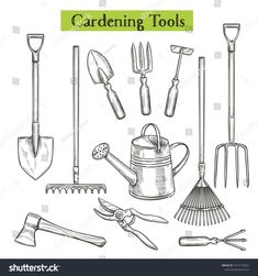 Gardening tools vector illustration in retro sketch style. Shovel rake and pruner. Watering can chopper pruner ax and forks. Large Garden Storage Box, Garden Tool Storage, Garden Tool Set, Gardening Magazines, Gardening Tools, Garden Bags, Garden Ideas, Tool Tattoo, Plant Illustration
