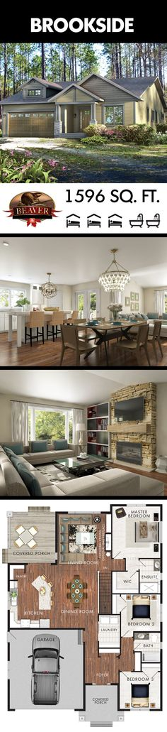All 1596 sq. ft. of the Brookside are evenly distributed between living and sleeping space. The layout of the kitchen and dining areas make it a perfect home for people who love to entertain guests and host dinner parties. #BeaverHomesAndCottages.