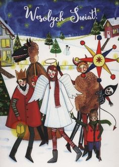 Karnet Wesołych świat Kolędnicy - Artykuły szkolne i papiernicze Polish Christmas, Christmas Diy, Xmas, Book Images, My Heritage, Vintage Christmas Cards, Children's Book Illustration, Vintage Postcards, Folk Art