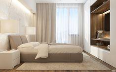 Кровать с подголовником в спальне, ковер, тумба