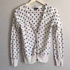 Polka dot cardigan Adorable t/o brand sweater. Ivory/cream with navy polka dots. Sweaters Cardigans