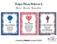 Looking for a hands-on way for your students to learn their shapes? Look no further.this pack gets you fully prepped for helping your students learn their shapes through poems, books, and several activities! What you'll get? You'll get 13 colorful shape posters with poems. Use them in your class whe...