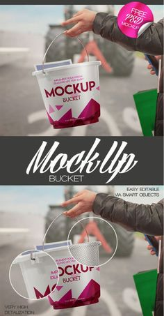 Check this Bucket MockUp PSD and feel free to download! It's fully layered and well organized, so you can make changes according to your needs. The mockup is perfect for implementing a lot of designers ideas as well. Add to your feebies collection right now!