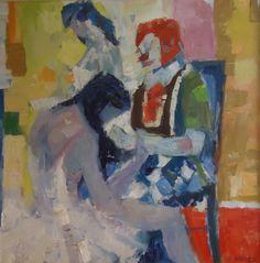 Lg.Modern Mid-Century Abstract Painting Ballerinas Clown Botti/Barrel Listed NY #Abstract