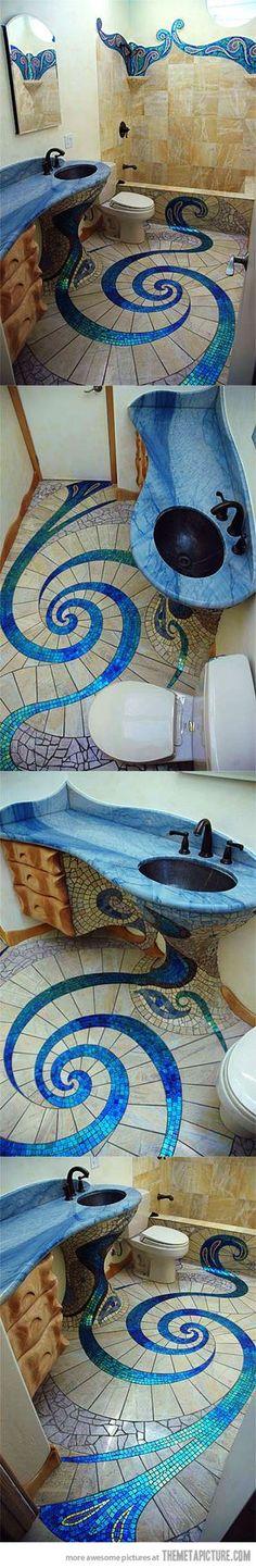 schoenes blaues Bad. gute idee