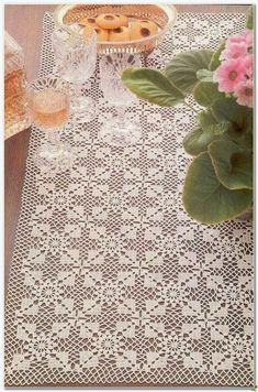 Super Ideas For Crochet Lace Tablecloth Rectangle Crochet Tablecloth Pattern, Crochet Bedspread Pattern, Crochet Doily Diagram, Crochet Motif Patterns, Crochet Curtains, Filet Crochet, Crochet Doilies, Cloth Patterns, Crochet Lace Scarf