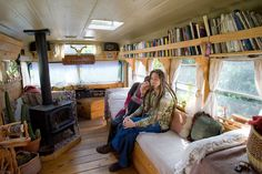School bus converted into a beautiful,energy efficient home that runs off recycled vegetable oil. The couple write a blog about their travels in it. http://enchantedgypsy.blogspot.com/