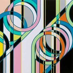 SARAH MORRIS,Double Coil (Knots)  2010, Household gloss paint on canvas  152.5 x 152.5 cm