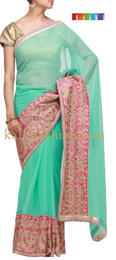 Buy it now  http://www.kalkifashion.com/blue-saree-with-zari-embroidery.html  Blue saree with zari embroidery