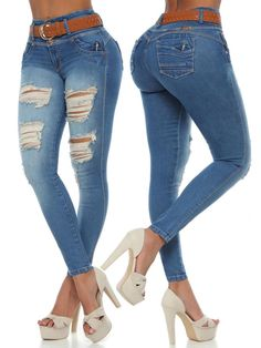 Medium Blue Skinny Fit Colombian Jeans. Stretchy Material made for long-lasting, all day comfort. Skinny Fit, Skinny Jeans, Boutique Stores, Best Jeans, Brown Belt, Small Waist, Ankle Jeans, Spring Collection, Stretchy Material