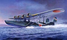 kawanishi flying boat war aviation battle art painting Canvas Wall Poster
