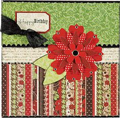 Happy Birthday featuring Hot Off The Press Red Velvet papers and 22 Red Flower Paper Tole