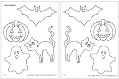 Free Halloween printables including jack-o-lanterns, bats, ghosts and cats to color and use for Halloween crafts.