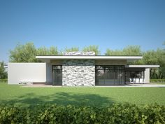 Modern Style House Plan - 3 Beds 2 Baths 1716 Sq/Ft Plan Exterior - Other Elevation Modern Bungalow Exterior, Modern House Facades, Modern Bungalow House, Modern Exterior House Designs, Bungalow House Plans, Modern House Plans, Modern House Design, Flat Design, House Roof