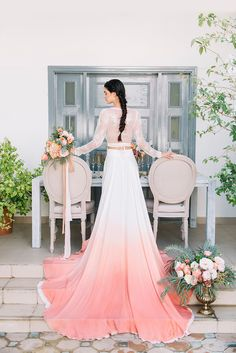 Fresh and colorful inspiration for a dip dye wedding with an ombré silk dress, peach and coral flowers, and elegant bohemian styling! Coral Dress Wedding, Dip Dye Wedding Dress, Coral Wedding Themes, Colored Wedding Dresses, Wedding Colors, Wedding Styles, Wedding Gowns, Teal Weddings, Blue Wedding