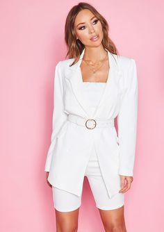70542eea5e77ec Missyempire - Michelle White Button Blazer White Out