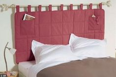 RV Bed Idea – Space Saving Headboard, maybe attach this type of idea to my daughter's window thing.